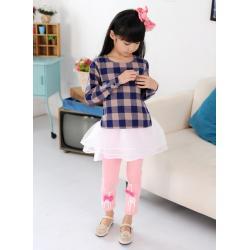 กางเกงเลกกิ้ง สีชมพู สกรีนยีราฟติดโบที่ขา size 100