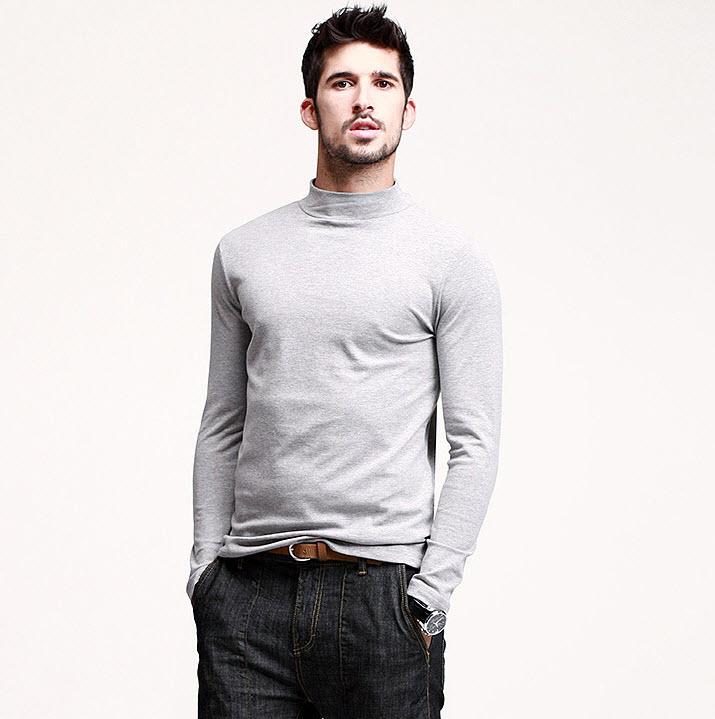 พร้อมส่ง เสื้อคอเต่าผู้ชาย สีเทา แขนยาว เสื้อกันหนาว หรือแมทซ์กับสูทก็เท่ห์
