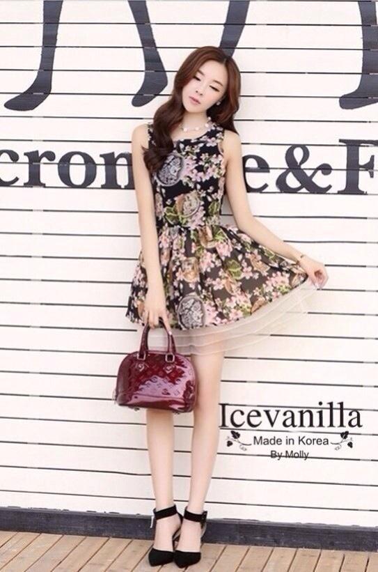 Sleeveless Chiffon pleated Dress printing style korea
