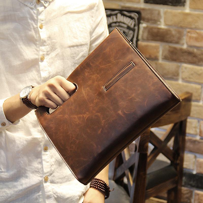 พร้อมส่ง กระเป๋าหนังPU สีน้ำตาล กระเป๋าผู้ชาย ใช้ถือหรือสะพายข้างได้