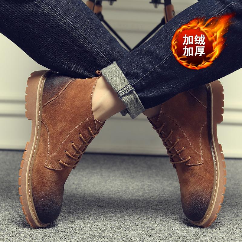 พร้อมส่ง รองเท้าบูทผู้ชาย สีน้ำตาล บุขน รองเท้าบูทหนัง แบบร้อยเชือก ใส่ง่าย ใส่ลุยหิมะ ใส่กันหนาว
