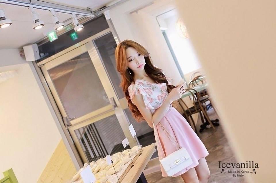 Luxury sweet rose floral Dress + (Belt set)