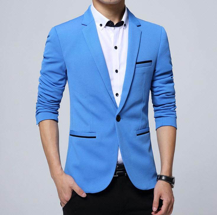 พรีออร์เดอร์ เสื้อสูท ผู้ชาย สีฟ้า แขนยาว กระดุมหน้าเม็ดเดียว แขนแต่งกระดุม ใส่ทำงาน ใส่ออกงาน ใส่เป็นสูทลำลอง