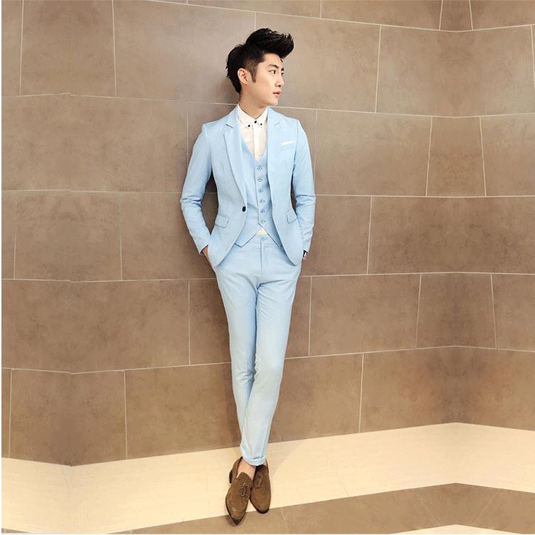 พร้อมส่ง เสื้อสูท + กางเกง สีฟ้า เข้าเซ็ท ชุดสูทผู้ชาย ใส่ออกงาน ไปงานเท่ห์มาก