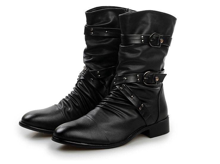 รองเท้าแฟชั่นผู้ชาย พร้อมส่ง รองเท้าหนัง รองเท้าบูทหุ้มข้อ สีดำซิปข้าง