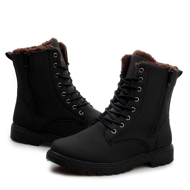 รองเท้าหุ้มข้อผู้ชาย พร้อมส่ง รองเท้าหนัง รองเท้าลุยหิมะ สีดำ แบบผูกเชือก ด้านในบุขนสัตว์