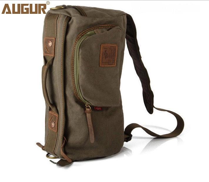 กระเป๋าเป้สะพายไหล่ พร้อมส่ง สีเขียว ผ้าแคนวาส ทรงหมอน ออกแบบสวย