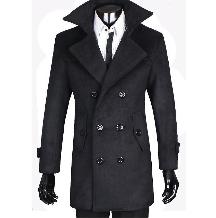 เสื้อโค้ทผู้ชาย สีดำ ผ้าวูลเนื้อหนา กระดุม2แถว ใส่กันหนาว แฟชั่นผู้ชายเรียบหรู ใส่กันหนาวได้ดี