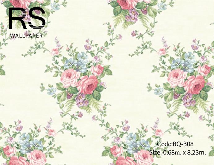 วอลเปเปอร์ลายดอกไม้สไตล์วินเทจดอกสีชมพู ฟ้า ม่วง สีสดใบสีเขียวเข้มพื้นสีขาวเขียวเงา BQ-B08