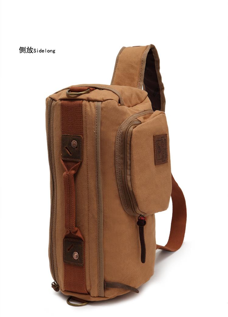 กระเป๋าสะพาย สีกากี ทำด้วยผ้าแคนวาส ออกแบบได้เท่ห์ ไม่ซ้ำใคร จุของได้เยอะ ใช้สะพาย ใช้ถือ จุของได้เยอะ ด้านหน้ามีช่องเล็กเปิดปิดด้วยซิป