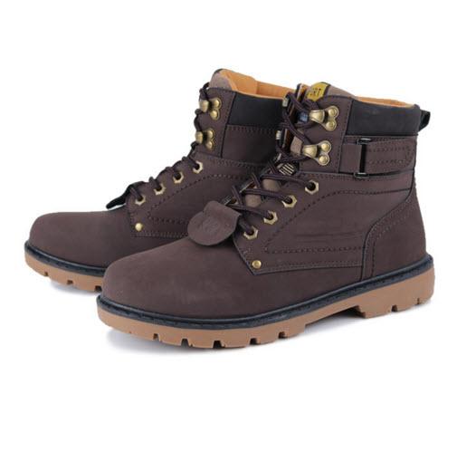 พร้อมส่ง รองเท้าหุ้มข้อ ผู้ชาย รองเท้าหนัง รองเท้าหุ้มข้อ สีน้ำตาลเข้ม แบบผูกเชือก