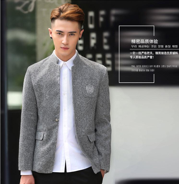 พรีออร์เดอร์ เสื้อสูท ผู้ชาย ลำลอง สีเทา แขนยาว คอจีน กระดุมเม็ดเดียว ปักแต่งกระเป๋า