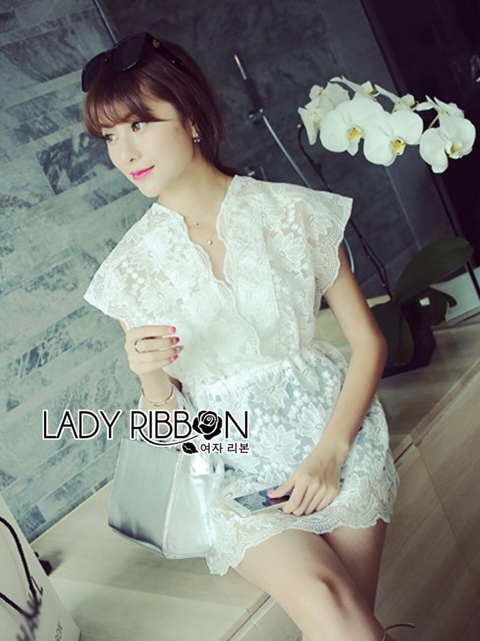 Lady Ribbon's Made Abigail Pretty and Sexy White Lace Mini Dress