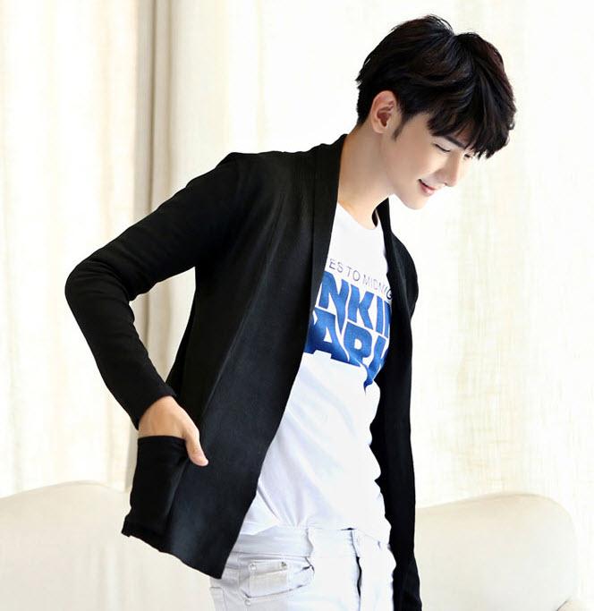 เสื้อไหมพรม สีดำ คาร์ดิแกนผู้ชาย เนื้อหนา มีน้ำหนัก มีกระเป๋าข้าง ใส่กันหนาวได้ เสื้อกันหนาวผู้ชาย