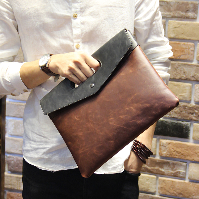 พร้อมส่ง กระเป๋าถือ กระเป๋าเอกสาร หนัง PU สีน้ำตาล ใส่เอกสาร ใส่โทรศัพท์ ใส่ ipad mini ได้