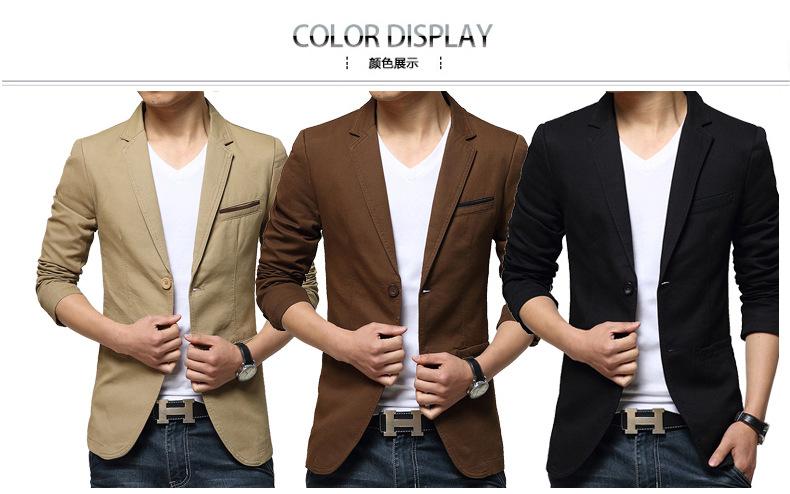 เสื้อสูทผู้ชาย สูทลำลอง สีกากี คอปก แต่งกระเป๋าหน้าสีน้ำตาลเข้ากับสีเสื้อ มีซับใน ใส่ทำงาน สูทออกงาน หรือใส่เป็นสูทลำลองได้