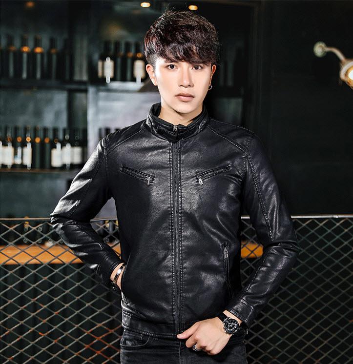 พร้อมส่ง เสื้อแจ็คเก็ตหนัง สีดำ หนังPU คอจีน เสื้อหนังใส่ขี่มอไซด์ หนังคุณภาพดี ใส่เท่ห์