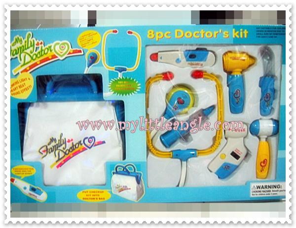 ชุดคุณหมอพร้อมกระเป๋าตรวจรักษา มีกระเป๋าสีฟ้า เครื่องมือชมพู ส่งฟรี
