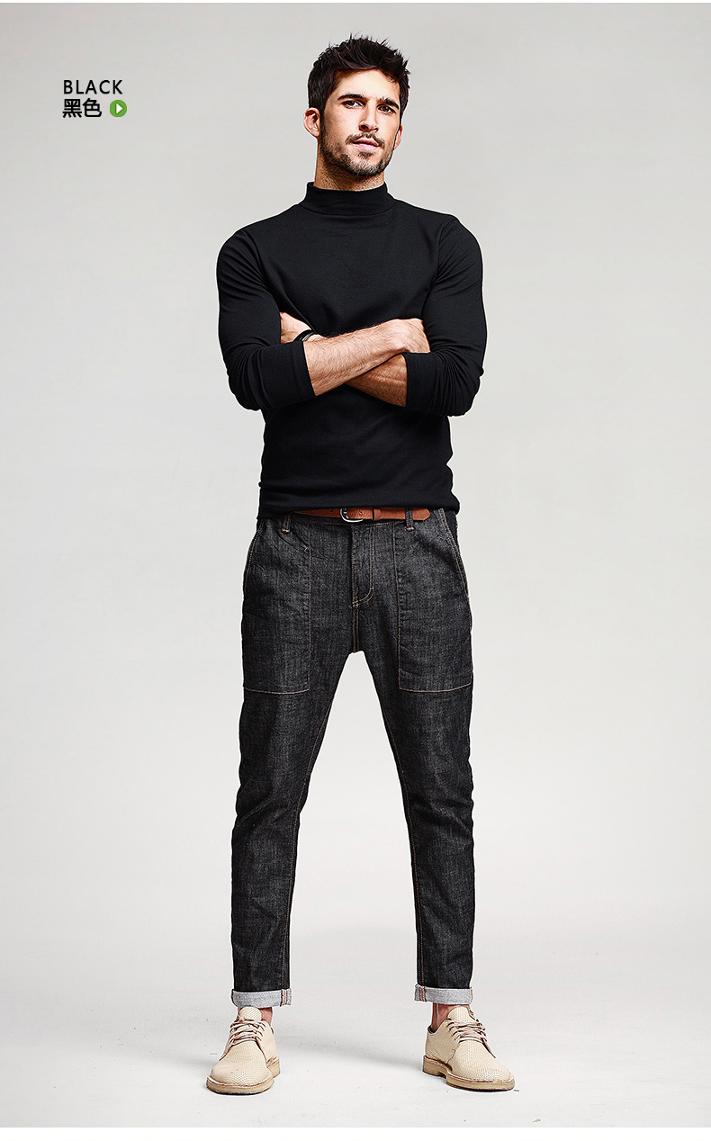 เสื้อคอเต่าผู้ชาย สีดำ แขนยาว ใส่พอดีตัว เสื้อกันหนาว เนื้อผ้าดี ใส่กันหนาวได้ ใส่เดี่ยว หรือทับด้วยโค้ทได้ แมทซ์กับเสื้อสูทก็เท่ห์