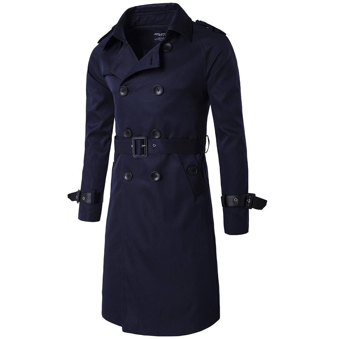 เสื้อโค้ท trench coat เทรนช์โค้ทผู้ชาย สีน้ำเงินกรมท่า ตัวยาว กระดุมหน้า แขนยาว ทรงตรง ปลายแขนแต่งหนังเป็นเข็มขัด กระเป๋าข้างใช้งานได้ มาพร้อมเข็มขัดเข้าชุด งานเรียบหรูมากๆ