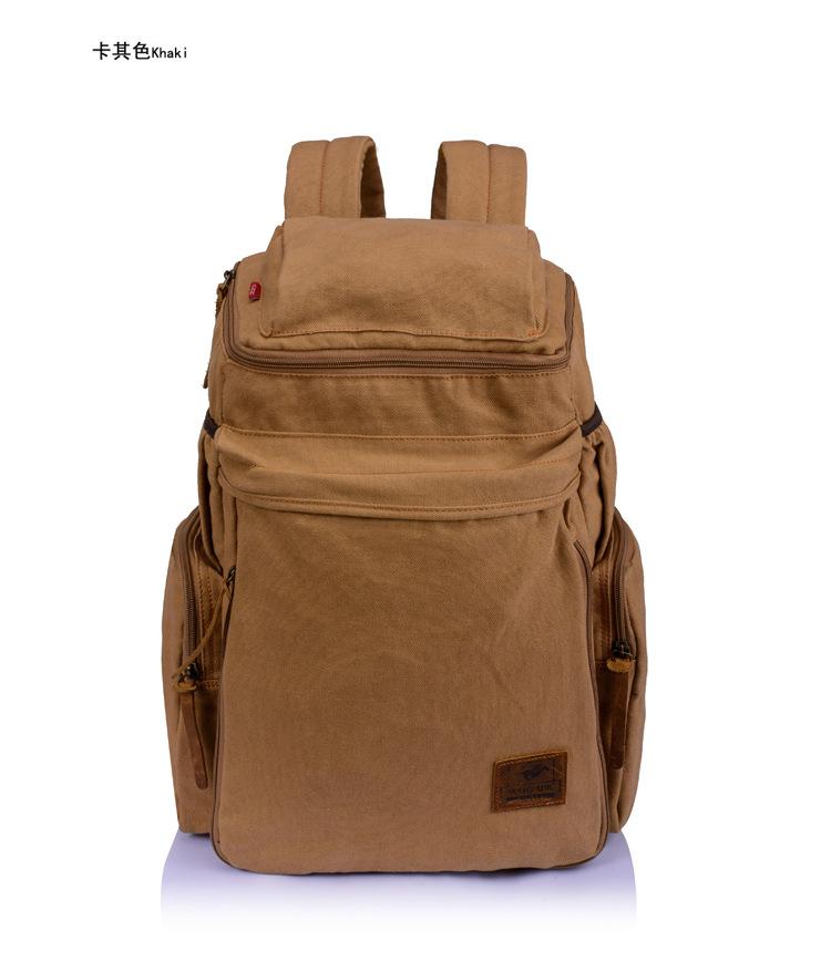 กระเป๋าเป้สะพายหลัง พร้อมส่ง สีกากี สะพายหลังสุดเท่ห์ ออกแบบเท่ห์ จุของได้เยอะ ใส่ipad notebook ทำด้วยผ้าแคนวาส