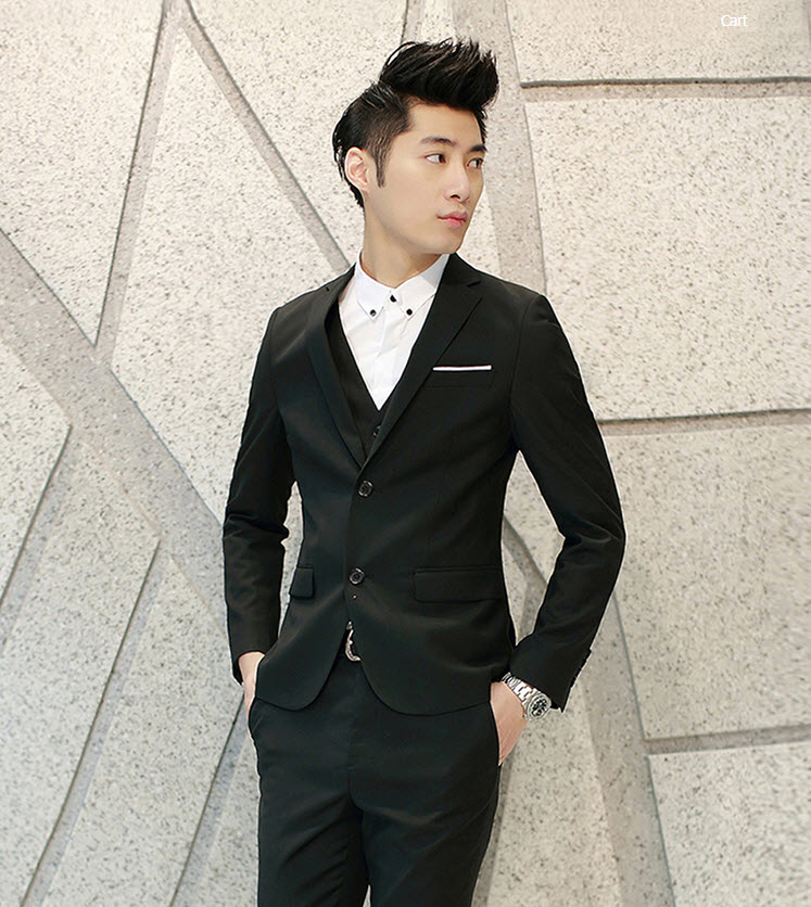 พรีออร์เดอร์ ชุดสูทผู้ชาย สีดำ เสื้อสูท + เสื้อกั๊ก + กางเกงขาวยาว