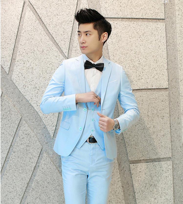 พรีออร์เดอร์ ชุดสูทผู้ชาย สีฟ้า เสื้อสูท + เสื้อกั๊ก + กางเกงขาวยาว