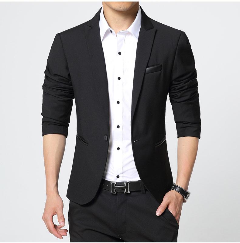 พร้อมส่ง เสื้อสูท ผู้ชาย สีดำ แต่งหนังที่กระเป๋า แขนยาว กระดุมหน้าเม็ดเดียว ใส่ทำงาน ใส่ออกงาน ใส่เป็นสูทลำลอง