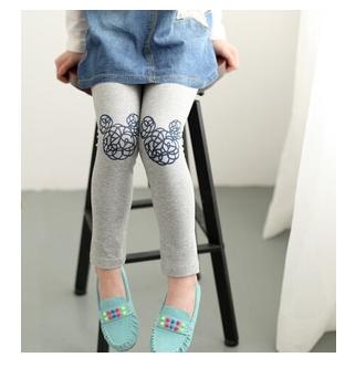 กางเกงเลกกิ้งหนา สีเทาสกรีนลายมิกกี้