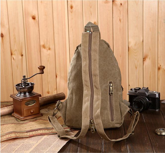 กระเป๋าคาดอก สีน้ำตาล/สีดำ รุ่นนี้สามารถปรับสายให้เป็นเป้สะพายหลังได้