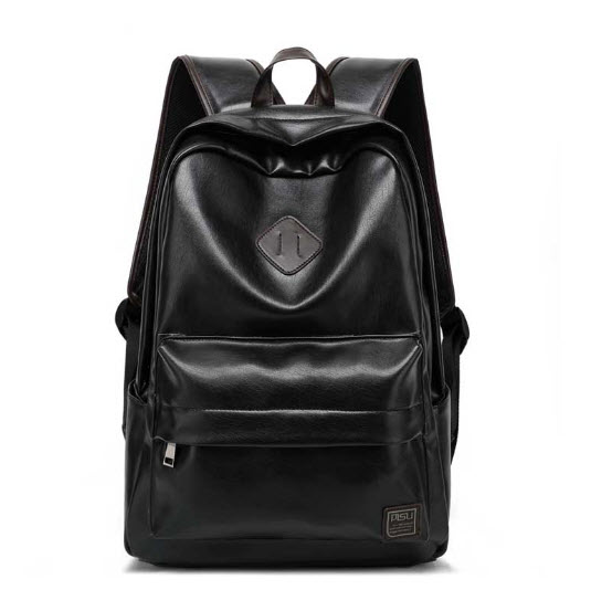 พร้อมส่ง กระเป๋าเป้สะพายหลังผู้ชาย สีดำ หนังPU ทรงเท่ห์ จุของได้เยอะ