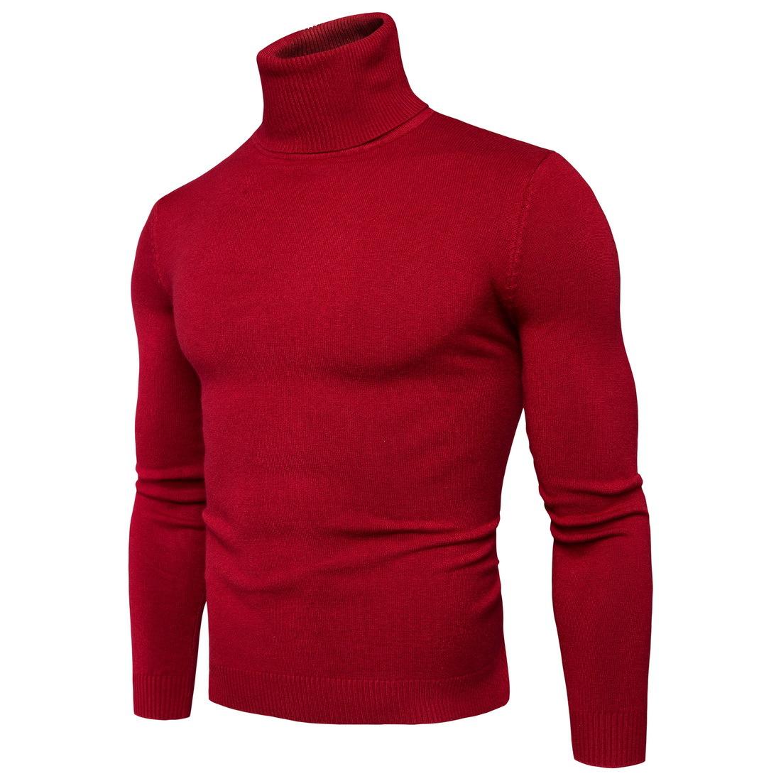 เสื้อไหมพรม คอเต่า สีแดง แขนยาว สเวตเตอร์ผู้ชาย ผ้านุ่ม ใส่กันหนาว ใส่ไปเที่ยวต่างประเทศได้ ใส่เดี่ยวหรือทับด้วยโค้ทอีกที แฟชั่นผู้ชาย