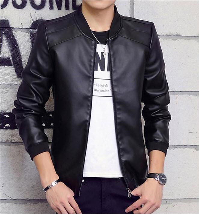 พร้อมส่ง เสื้อหนัง PU เสื้อแจ็คเก็ต สีดำ คอจีน แขนยาว ซิปเต็มตัว หนังดี แต่งตะเข็บช่วงบ่า