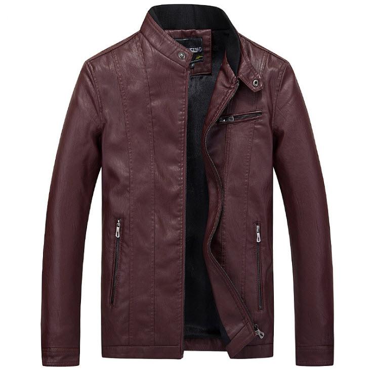 เสื้อแจ็คเก็ตหนัง ผู้ชาย สีแดง หนังPU คอจีน กระดุมเป๊กที่คอ แต่งซิปกระเป๋าหน้าอกซ้าย แขนยาว ซิปเต็มตัว กระเป๋าข้างใช้งานได้ เสื้อมีซับใน หนังดี ใส่เป็นเสื้อคลุม ใส่ทำงาน ใส่เที่ยว ใส่ขี่มอเตอร์ไซค์ เสื้อหนังผู้ชาย
