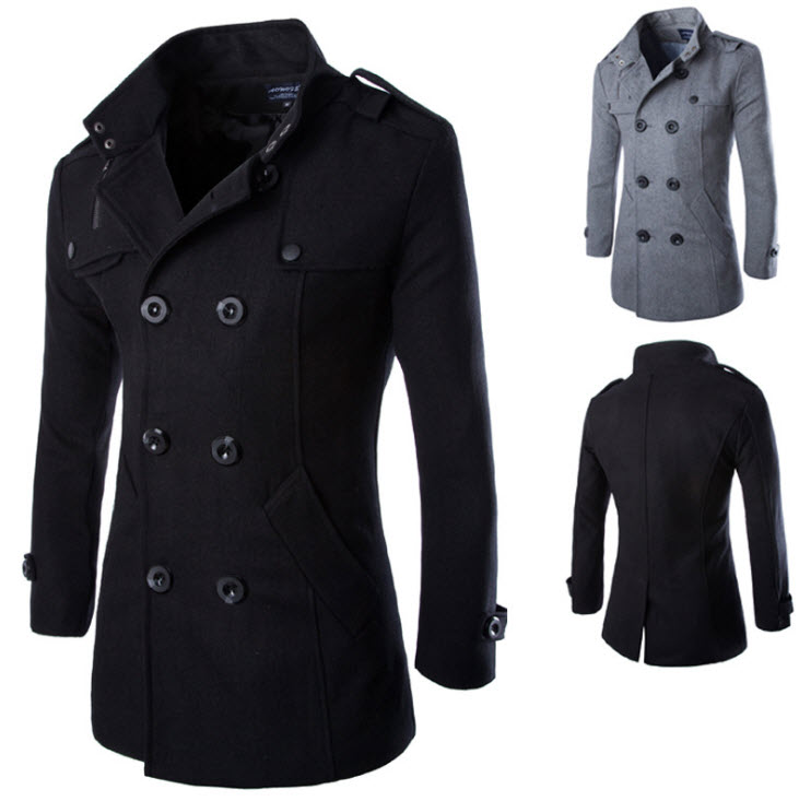 พร้อมส่ง เสื้อโค้ทผู้ชาย สีดำ ผ้าวูลใส่กันหนาว โค้ทกันหนาวผู้ชาย ใส่ไปเที่ยวต่างประเทศได้