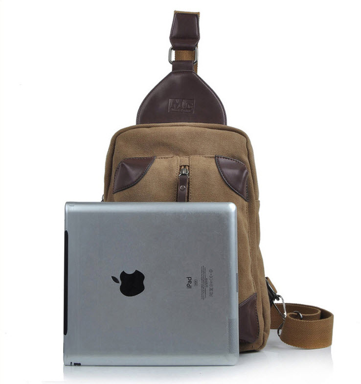 กระเป๋าคาดอก พร้อมส่ง ผ้าแคนวาส สีน้ำตาล แต่งหนัง มีช่องซิปด้านหน้า ออกแบบสวย ใส่ของได้เยอะ สายปรับได้