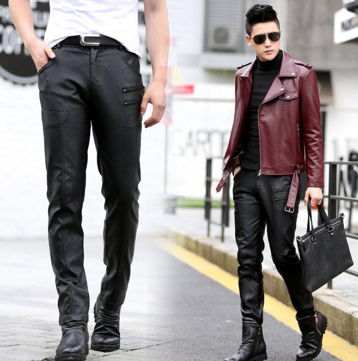 พร้อมส่ง กางเกงหนังผู้ชาย หนังPU แต่งซิป กางเกงขายาว กางเกงหนังแฟชั่น