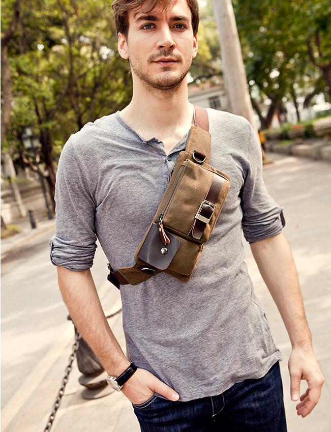 กระเป๋าคาดเอว กระเป๋าคาดอก พร้อมส่ง ผ้าแคนวาส สีน้ำตาล มีช่องกระเป๋าด้านหน้า ออกแบบสวย ฝากระเป๋าแต่งหนัง สายปรับได้