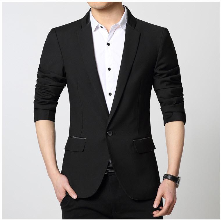พร้อมส่ง เสื้อสูท ผู้ชาย สีดำ แขนยาว กระดุมหน้าเม็ดเดียว แต่งช่วงปกคอเสื้อเก๋ และแต่งกระเป๋าเสื้อ มีซับใน ใส่ทำงาน ใส่ออกงาน ใส่เป็นสูทลำลอง กระเป๋าหลอก