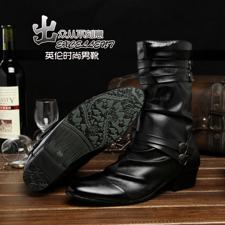 พร้อมส่ง รองเท้าหนังผู้ชาย รองเท้าบูท ผู้ชาย สีดำ ซิปหลัง แต่งสายรัดหัวเข็มขัด ใส่ทำงาน ใส่ลำลอง ใส่เที่ยว