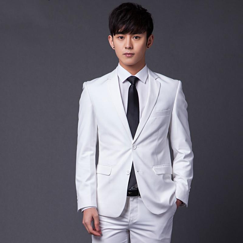พร้อมส่ง ชุดสูทผู้ชาย สีขาว กระดุมเสื้อสูท 2 เม็ด เสื้อสูท+เสื้อกั๊ก+กางเกง เข้าชุด