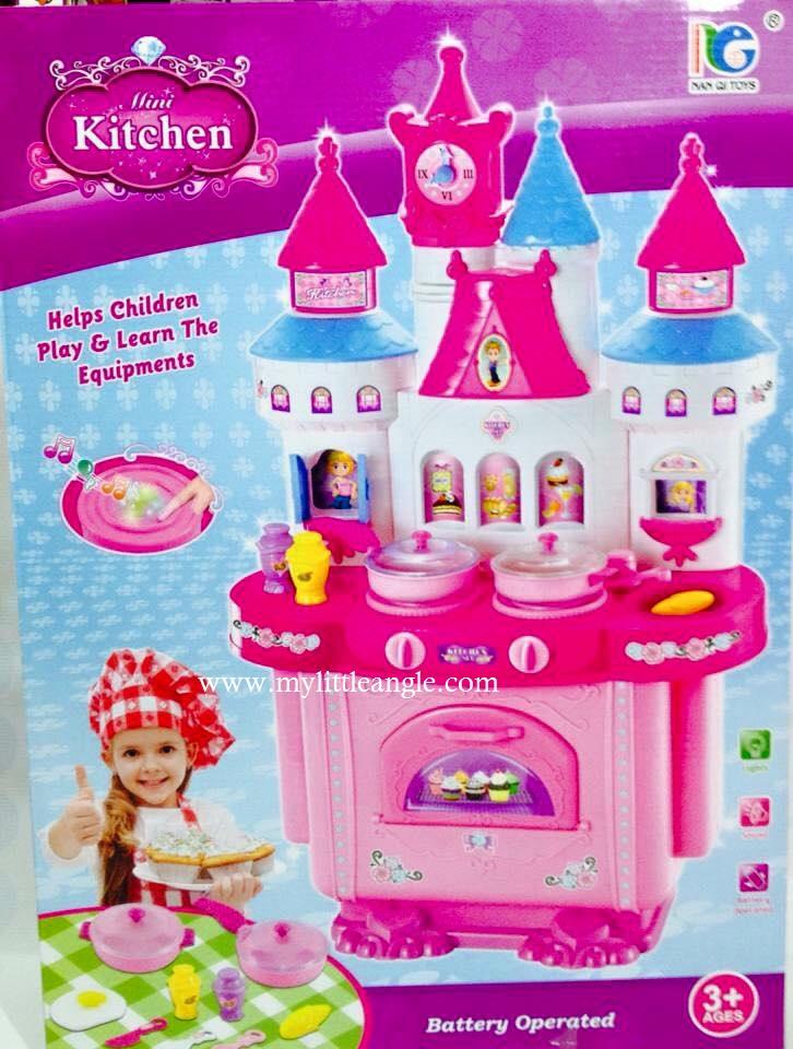 ชุดโต๊ะครัวปราสาท mini kitchen สีชมพู ส่งฟรี