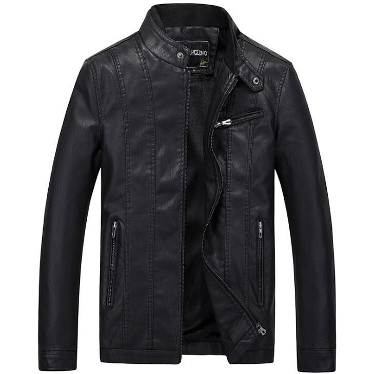 เสื้อแจ็คเก็ตหนัง ผู้ชาย สีดำ หนังPU คอจีน กระดุมเป๊กที่คอ แต่งซิปกระเป๋าหน้าอกซ้าย แขนยาว ซิปเต็มตัว กระเป๋าข้างใช้งานได้ เสื้อมีซับใน หนังดี ใส่เป็นเสื้อคลุม ใส่ทำงาน ใส่เที่ยว ใส่ขี่มอเตอร์ไซค์ เสื้อหนังผู้ชาย