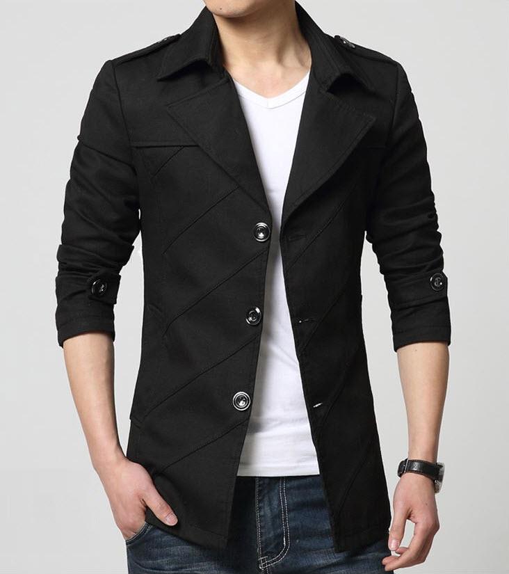 พร้อมส่ง เสื้อสูทผู้ชาย สูทลำลอง แขนยาว สีดำ คอปก ออกแบบเท่ห์ แต่งกระเป๋าหลอก มีซับใน กระดุม 3 เม็ด