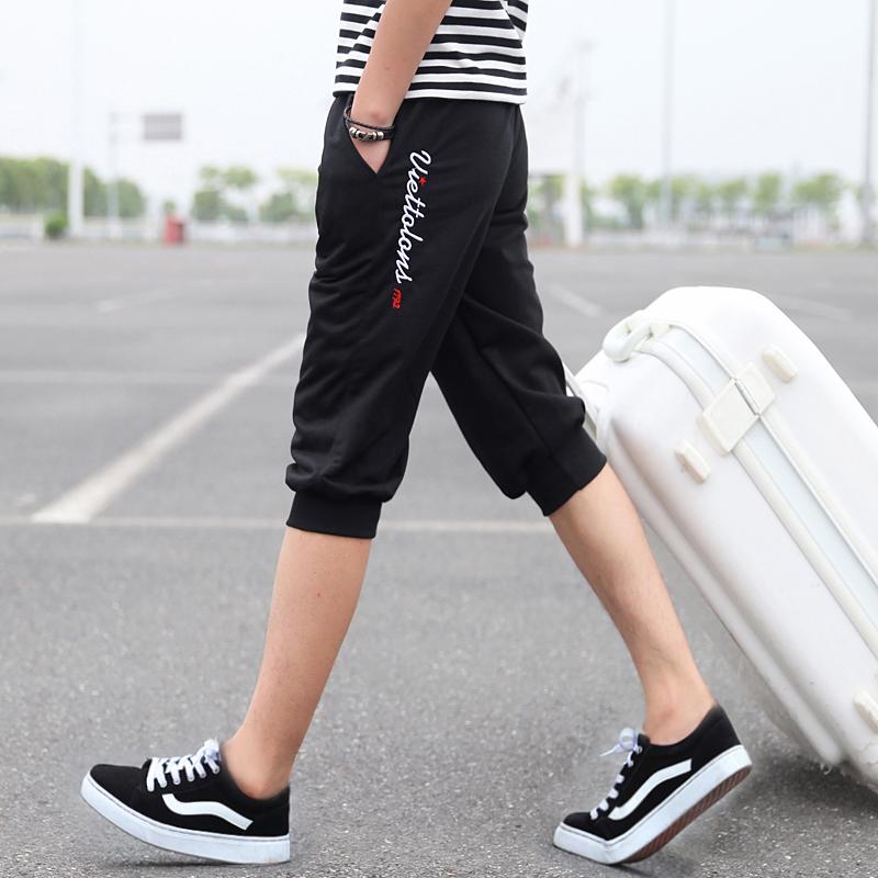 พร้อมส่ง กางเกงวอร์มขา 5 ส่วน สีดำ ปลายขาจั้ม แฟชั่นผู้ชายสไตล์เกาหลี