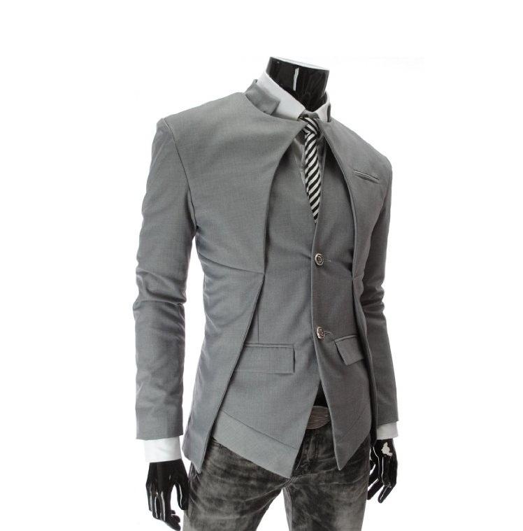 พร้อมส่ง สีเทา เสื้อสูท ผู้ชาย สีเทา กระดุมหน้า 2 เม็ด ออกแบบเก๋ สุดเท่ห์ ไม่เหมือนกัน เสื้อสูทไปงาน หรือใส่ทำงานได้