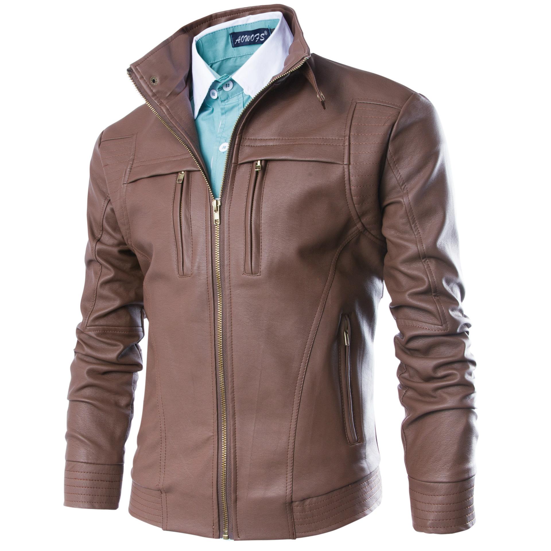เสื้อแจ็คเก็ตหนังผู้ชายสีน้ำตาล เสื้อหนังสีน้ำตาล