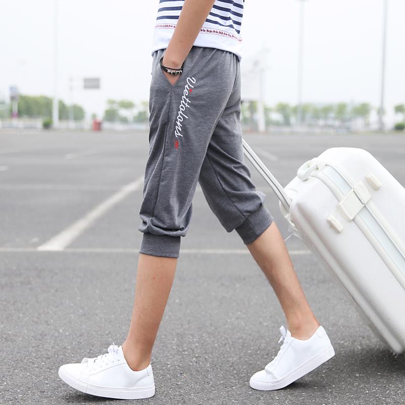 พร้อมส่ง กางเกงวอร์มขา 5 ส่วน สีเทาเข้ม ปลายขาจั้ม แฟชั่นผู้ชายสไตล์เกาหลี