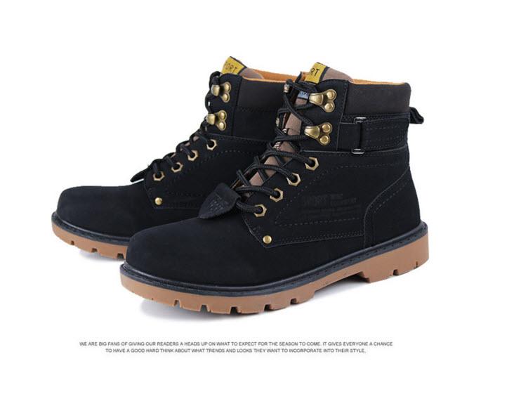 พร้อมส่ง รองเท้าหุ้มข้อ ผู้ชาย รองเท้าหนัง รองเท้าหุ้มข้อ สีดำ แบบผูกเชือก