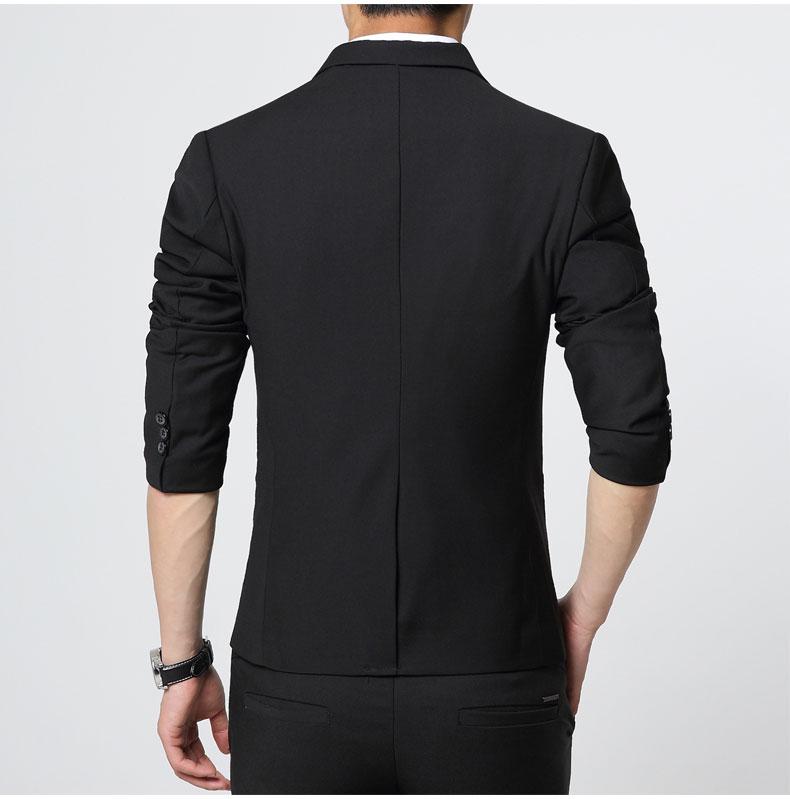 พร้อมส่ง เสื้อสูท ผู้ชาย สีดำ แต่งหนังที่กระเป๋า แขนยาว กระดุมหน้าเม็ดเดียว แขนแต่งกระดุม ใส่ทำงาน ใส่ออกงาน ใส่เป็นสูทลำลอง